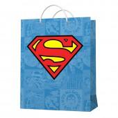 Superman. Пакет подарочный малый (голубой с лого), 180*227*100 мм